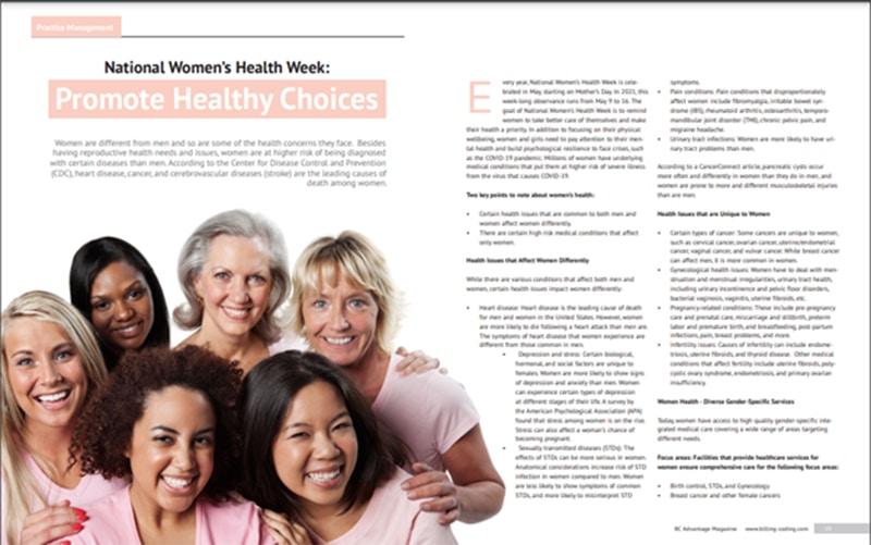 National Women's Health Week Featured in BC Advantage Magazine